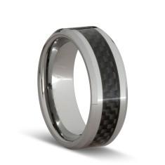 Carbon fibre black weave ring
