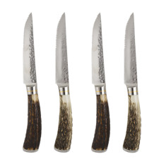 Laguiole by Louis Thiers Artisan 4-piece steak knife set with antler handles
