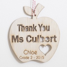 Personalised Thank you teacher Apple Christmas tree decoration
