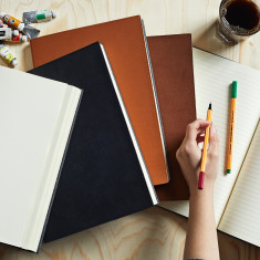 A4 plain or lined leather notebook set