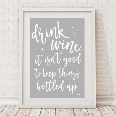 Drink wine typographic print