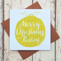 Merry Christmas pudding card (various colours)