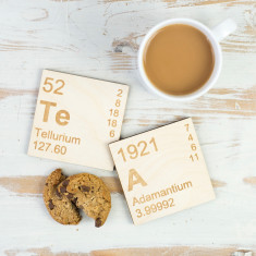 TeA periodic table wooden coasters