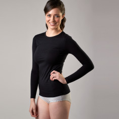 Bamboo long sleeve crew neck top in black