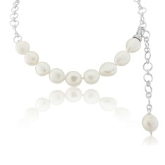 Large White Pearl Necklace with Pearl Drop
