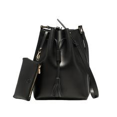 Leather bucket bag in black