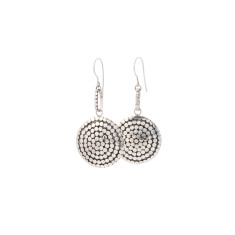 Disc dot sterling silver drop earrings