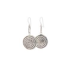 Disc dot sterling silver drop earrings