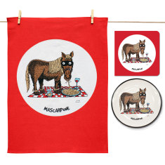 Mascarpone plate, tea towel & card gift set