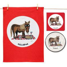 Mascarpone plate, tea towel & card gift set