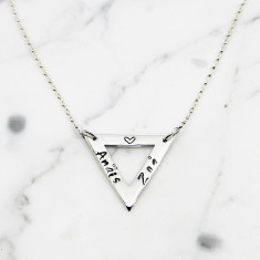 Personalised Triangle Sterling Silver Necklace