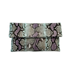 Lilac aqua motif python leather classic foldover clutch bag