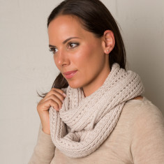 Knit panel loop scarf in cotton ( various colours )
