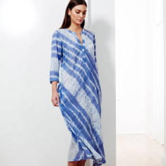 Bias cut maxi in cornflower shibori