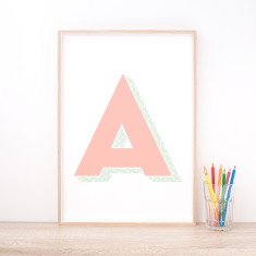 Personalised Pink Letter Art Print