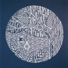 The hidden life screen-printed fabric art in white and navy