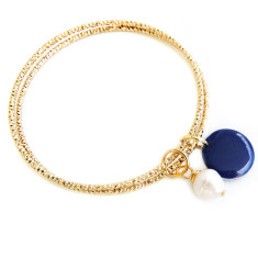 Diamond cut gold bangle duo with freshwater pearl and indigo disc
