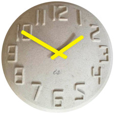 Pulp wall clock with fluoro yellow hands