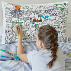 Dinosaur pillowcase to colour in, with pens