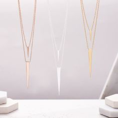Double Triangle Layered Necklace