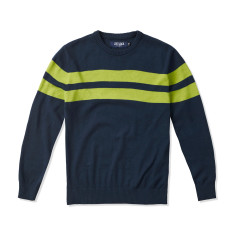 Boys Navy Crew Neck Jumper with Lime Stripes