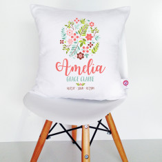 Personalised Floral Ball Birth Details Cushion Cover