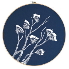 Screen printed butterflies embroidery hoop (navy)