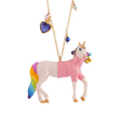 Unicorn in Pink Sweater Long Necklace