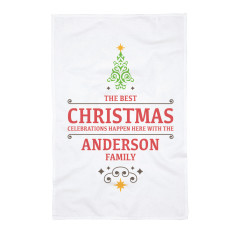 Personalised Christmas Celebrations Tea Towel