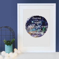 Peter Pan Second star to the right quote - star effect print