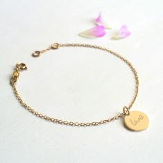 Personalised Gold Tiny Love Disc Bracelet