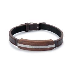 Adjustable Leather and Wood Bracelet - Hammered Steel Inlay