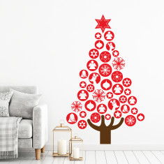 Baubles Christmas tree wall decal in large