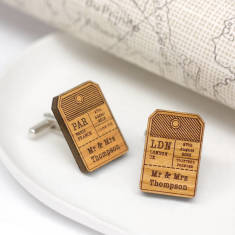 Personalised wooden ticket cufflinks