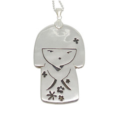Japanese doll sterling silver necklace