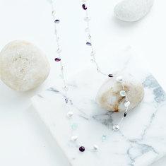 Ava Longer Necklace With Aqua Chalcedony Mix