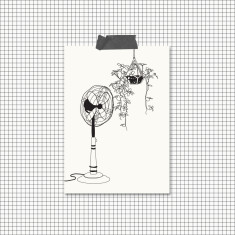 All Occasion Black and White Fan Illustration Greeting Cards (Pack of 4)