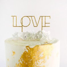 Love cake topper in gold