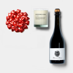 Scented candle, sparkling wine & chocolate hearts tube