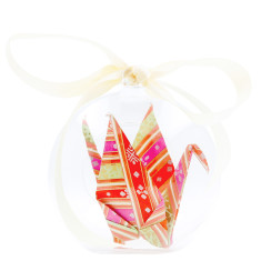 Origami Crane Hope in a box - Pink and Cream Stripes