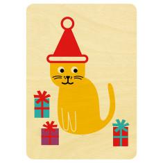 Mr Cat wooden Christmas postcard