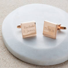 Personalised Rose Gold Anniversary Cufflinks