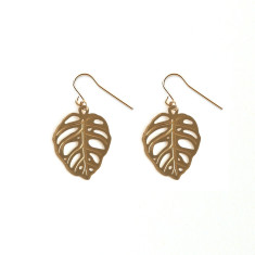 Gold Obliqua Monstera Earrings