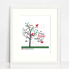 Your love makes us grow personalised print