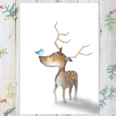 Reindeer Christmas Art Print