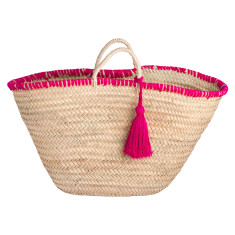 Medium tassel basket in pink