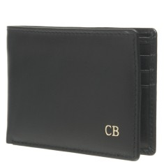 Monogrammed Men's Leather Wallet - Black with Gold Embossing