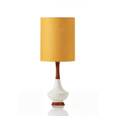 Small Electra table lamp in ochre linen