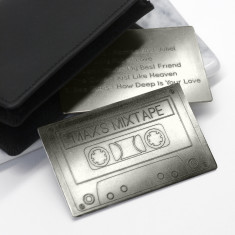 Personalised Metal Mix Tape Wallet Keepsake Card