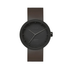 LEFF Amsterdam tube watch D42 with brown leather strap black finish
